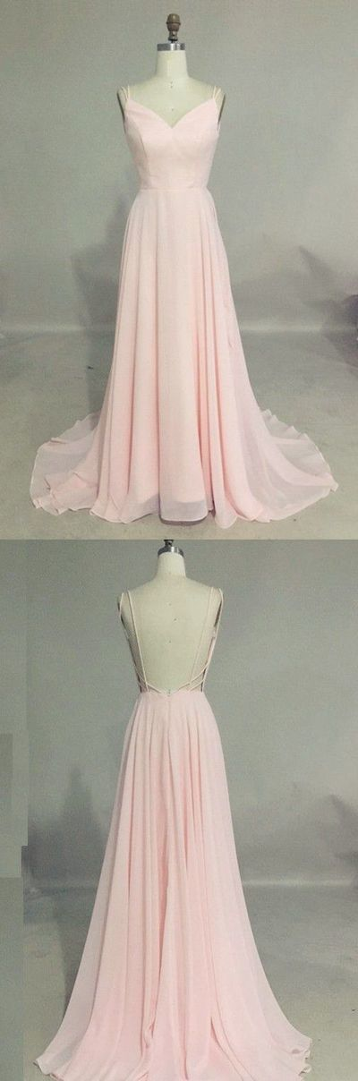 Pink Chiffon Prom Dress,Backless Spaghetti Prom Dress,Custom Made Evening