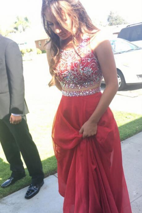 Red Beaded Dress,Two Pieces Tulle Prom Dress,Custom Made Evening Dress,17305