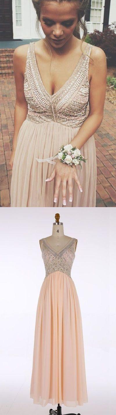 Charming Beaded Prom Dress,V Neck Prom Dress,Custom Made Evening Dress