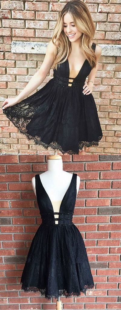 Cute Black Lace Homecoming Dress,Short V Neck Party Dresses,Short Prom