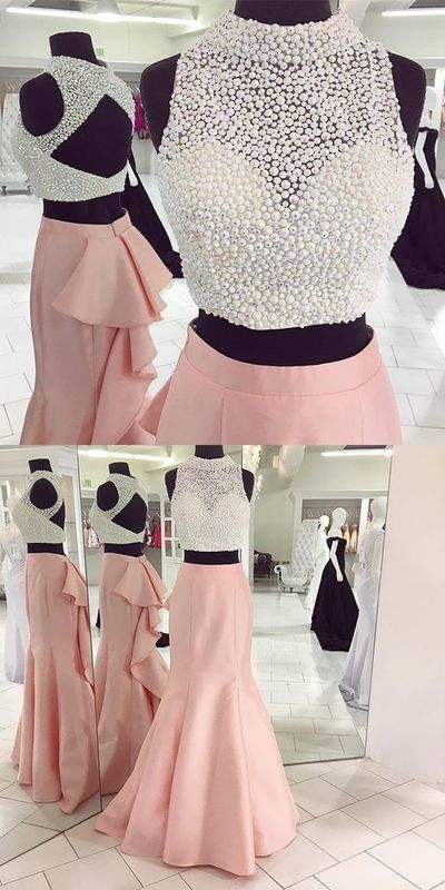 Two Pieces Beaded Prom Dress,Pink Mermaid Prom Dress,Custom Made Evening