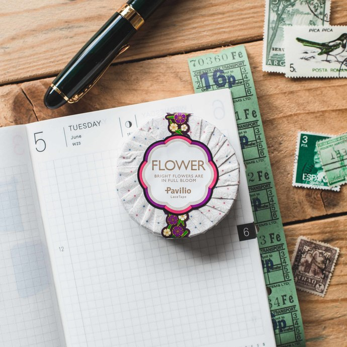 Pavilio Flower lace tape - Nadeshiko - 1.5 cm wide washi tape 10m - perfect for