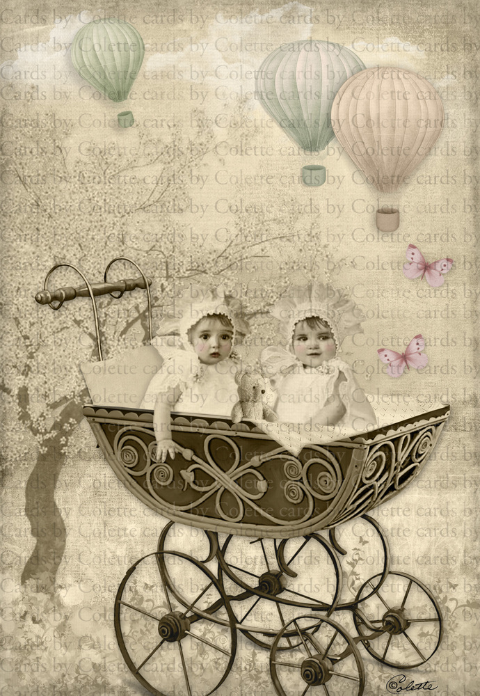 Babies andd Hot Air Balloons Digital Collage Greeting Cards1131