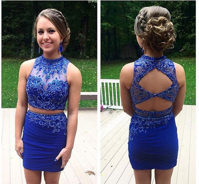 Royal Blue Homecoming Dress,Beaded Pencil Prom Dress,Custom Made Evening