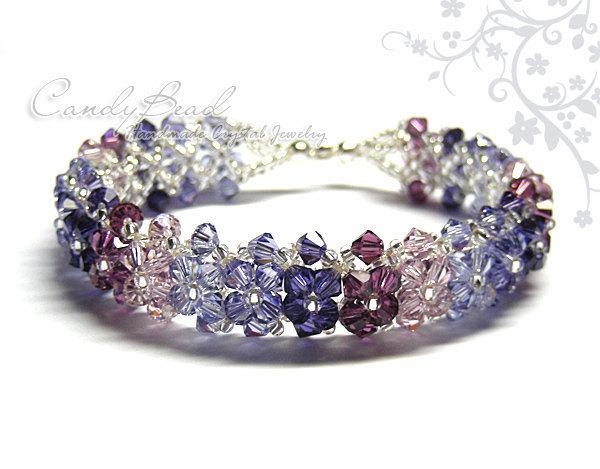 Size 7 to 8 1/2 inches; Crystal Bracelet; Swarovski Bracelet; Sweet Purple and