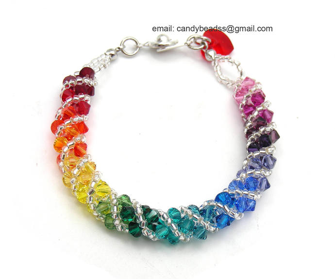 SALE; Size 5 1/2 to 6 inches; Rainbow bracelet; crystal bracelet; Swarovski