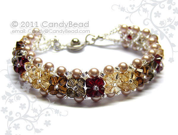 Size 7 to 8 1/2 inches; Swarovski Bracelet; Crystal Bracelet; Neutral Brown