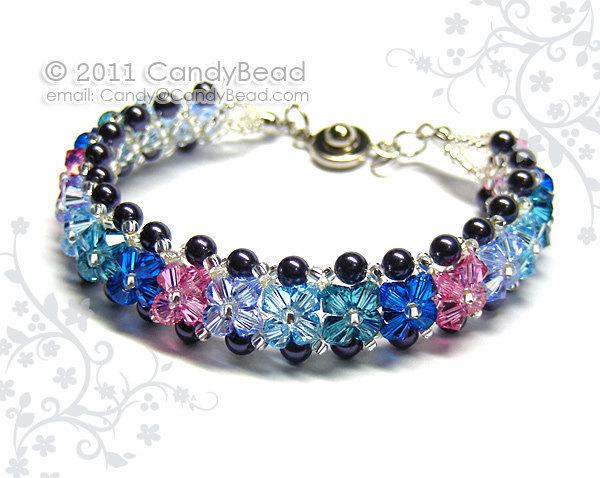 Size 7 to 8 1/2 inches; Swarovski Bracelet, Heaven Blue Shade Crystals bracelet