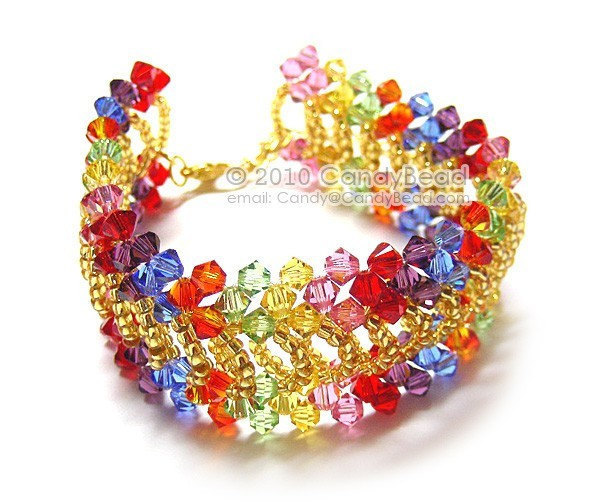 Size 7 to 8 1/2 inches; Shining Gold Splendid Swarovski Crystal Cuff Bracelet