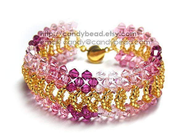 Size 7 to 8 1/2 inches; Shocking Pink Splendid Swarovski Crystal Cuff Bracelet