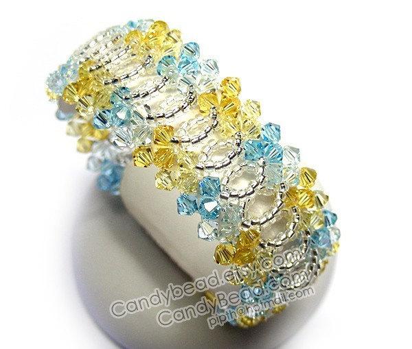 Size 7 to 8 1/2 inches; Sweet and Fresh Splendid Swarovski Crystal Cuff Bracelet