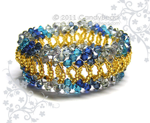 Size 7 to 8 1/2 inches; Gold Navy Blue Splendid Swarovski Crystal Cuff Bracelet