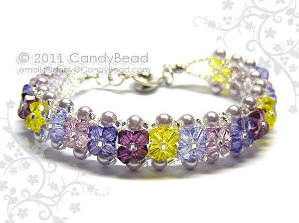 Size 7 to 8 1/2 inches; Crystal Bracelet; Swarovski Bracelet; Glass Bracelet;