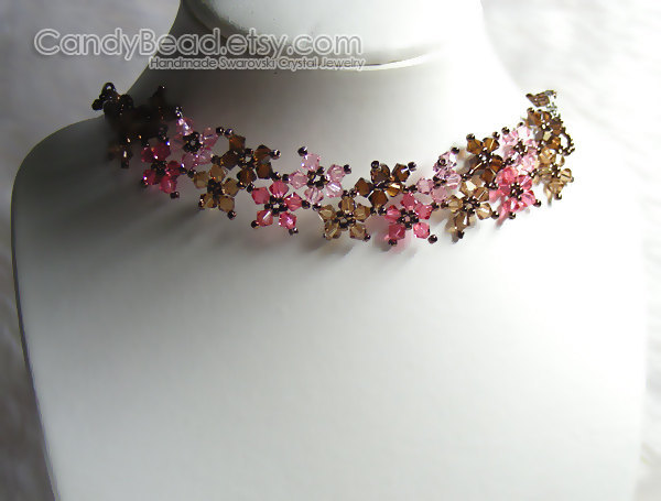 SALE; Size 16 to 18 inches; Crystal Necklace; Swarovski Necklace; Sweet Brown