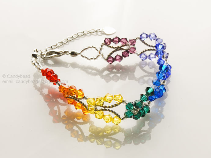 SALE; Size 7 to 8 1/2 inches; Rainbow bracelet; Swarovski bracelet; Spectrum