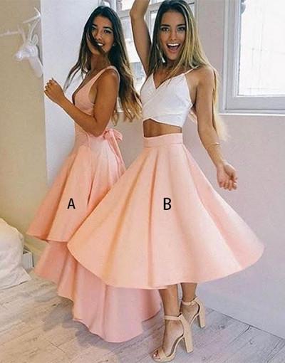 Cute A Line Homecoming Dress,Pink V Neck Party Dress,Evening Dresses