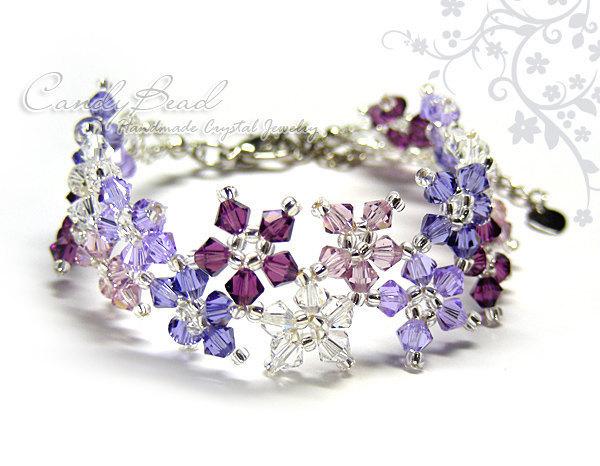 SALE; Size 7 to 8 1/2 inches; Swarovski Bracelet; Crystal Bracelet; Sweet Purple