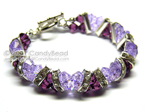SALE; Size 9 to 9 1/2 inches; Swarovski Bracelet; Crystal Bracelet; Glass