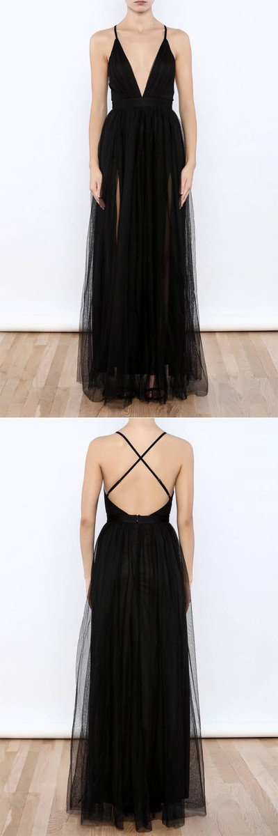 Sexy Black V Neck Side Slit Tulle Evening Gowns Prom Dress