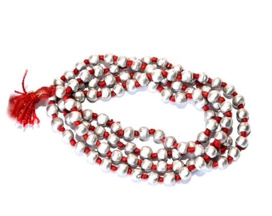 Natural Knoted Parad Bead Mala, Mercury Bead Mala Hand Knotted Mala Necklace,
