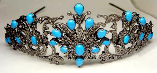 8.45 ct Diamond 925K Silver Turquoise Tiara Crown, Natural Diamond Crown Tiara.