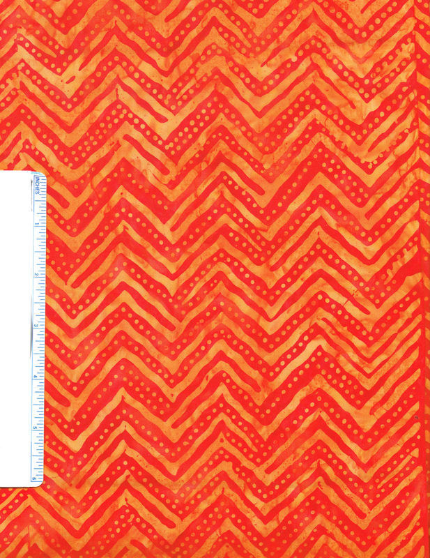 Remnant Cotton Quilt Fabric Batik Chevron Pumpkin Orange