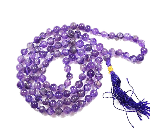 Gemstone Mala with Amethyst, Mala Beads, Yoga Jewelry, Japa Mala, Meditation