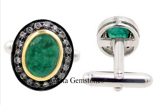 0.82ct Rose Cut Diamond Green Beryl Silver Cufflinks. Natural Diamond Beryl