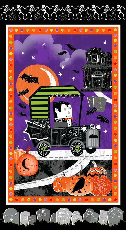 Panel Cotton Quilt Fabric  Fangtastic Glow In The Dark Halloween