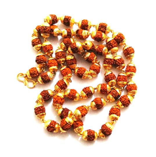 5- Mukhi (Five Face) Rudraksha Beads With Golden Cap Mala For Jaap Meditation