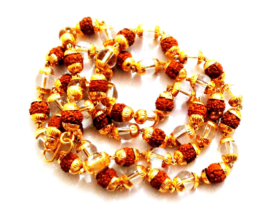 5- Mukhi Five Face Rudraksha & Crystal Beads With Golden Cap Mala For Jaap