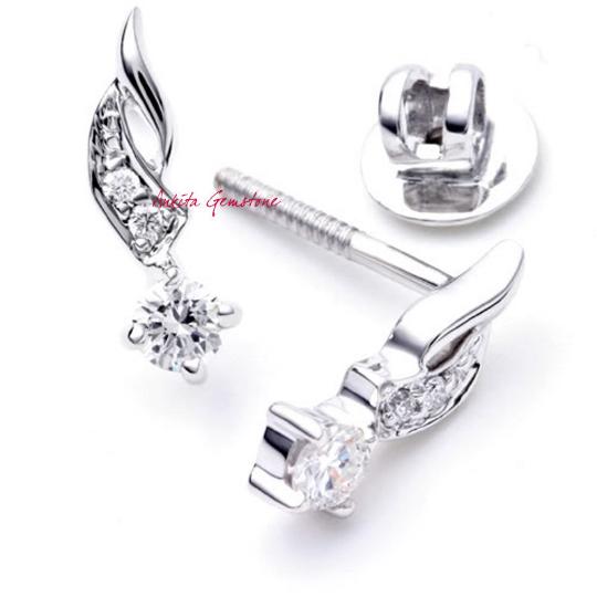 0.42 carat Natural Certified Diamond Gold woman's Earings, Diamond Dangle