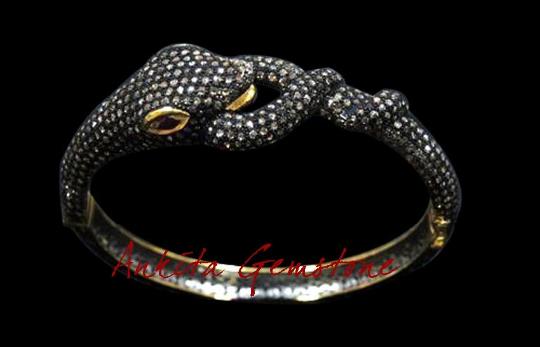 1 pcs Pave Diamond 925 Sterling Silver Ruby Bracelet, Snake Bracelet, Diamond