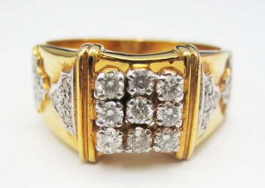 Real Natural Certified 0.58Ct Diamond 14k Hallmark Gold Men's Ring Band