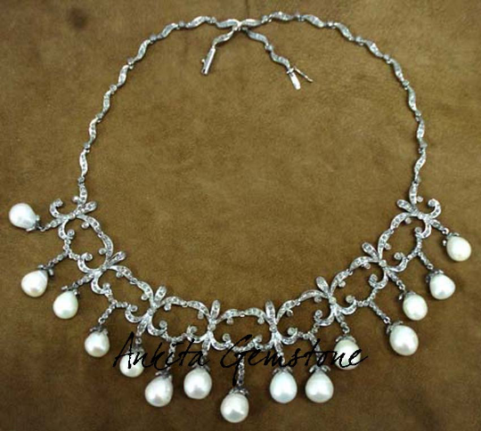 3.42ct Rosecut Diamond 925 Sterling Silver Pearl Necklace, Diamond Necklace,