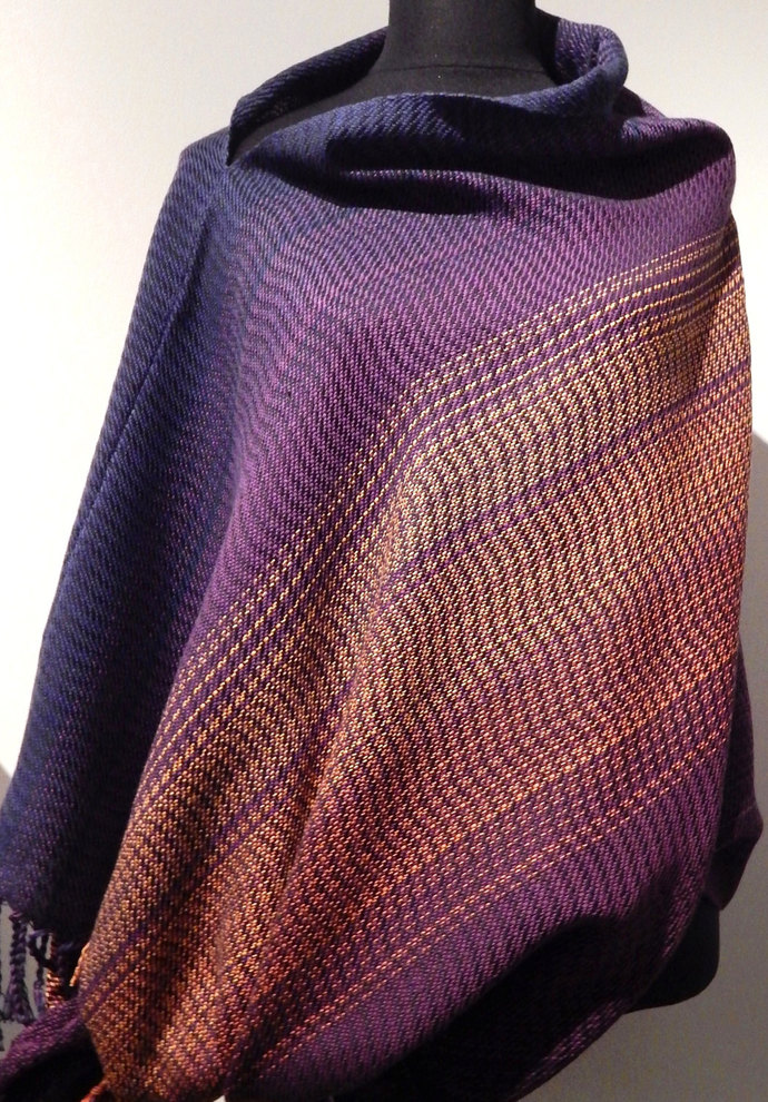 "Handwoven ""Purple Sunset""- poncho / shawl"