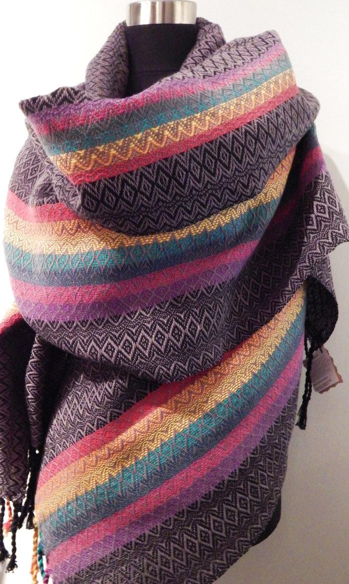 "Handwoven ""Double Rainbow""- shawl / scarf / wrap"