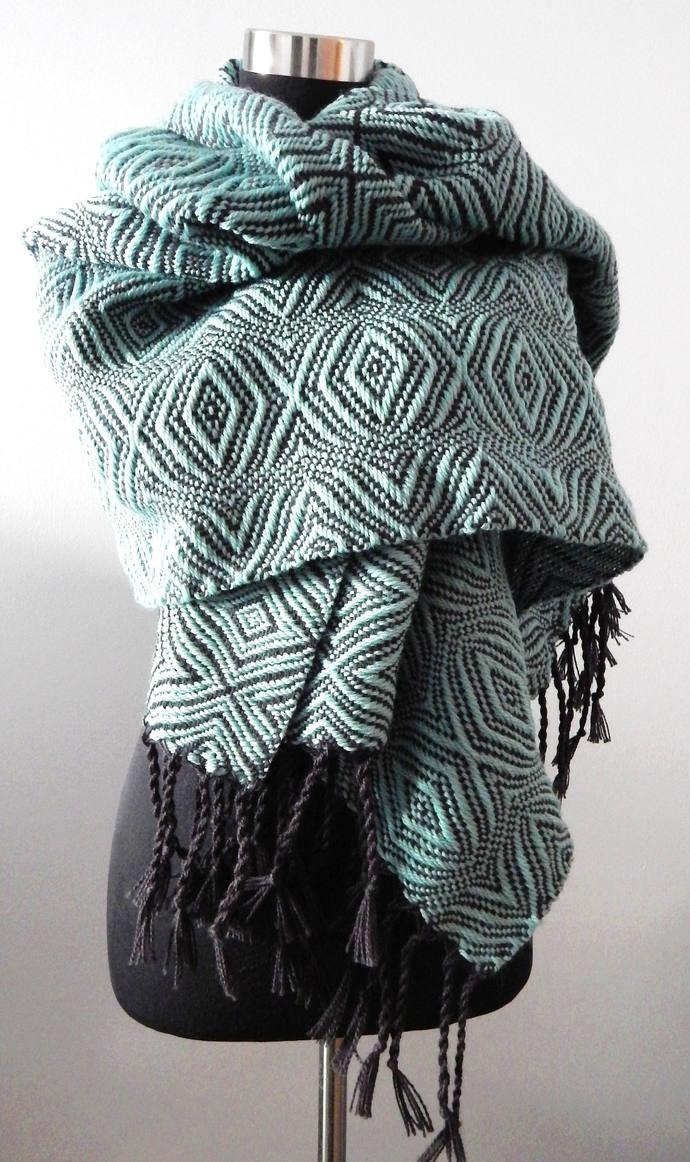 Handwoven Water Green- Shawl / scarf, wool