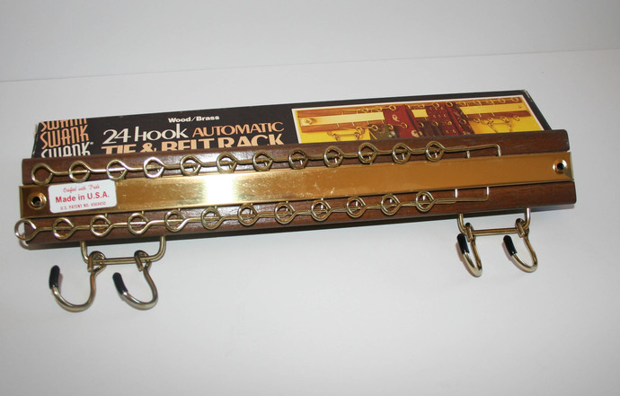 Vintage Swank Tie & Belt Rack Automatic 24 Hook Wood Brass In Box Hanger Scarf