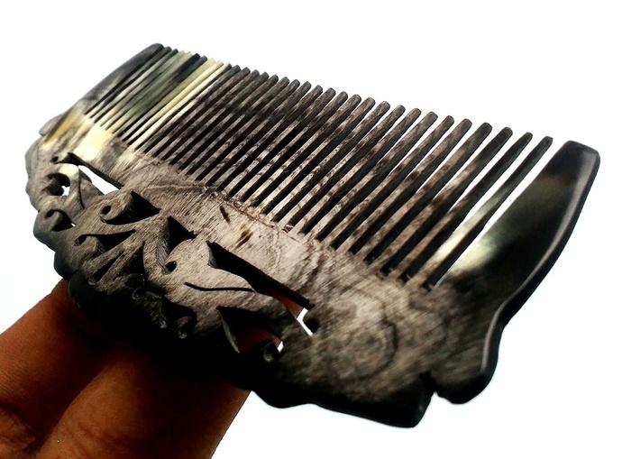 Unique buffalo horn carving hair comb/hair accecories/hair treatment