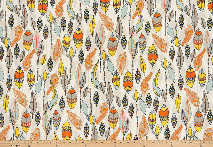 Feather Print Fabric Cheyenne Print By Twistedbobbin On Zibbet
