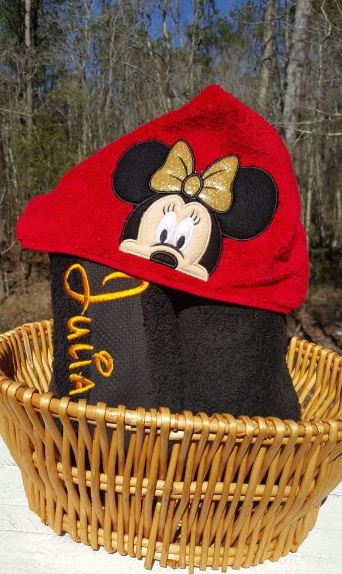 Girl Mouse inspired  Hooded Towel