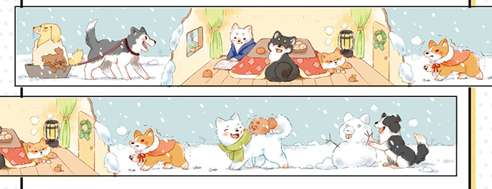 1 Roll of Limited Edition Washi Tape- Cute Dogs in Cold Cold Winter
