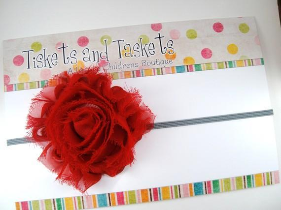 Red Shabby Kiley Chic Chiffon Flower Rosette on Skinny Stretch Headband -