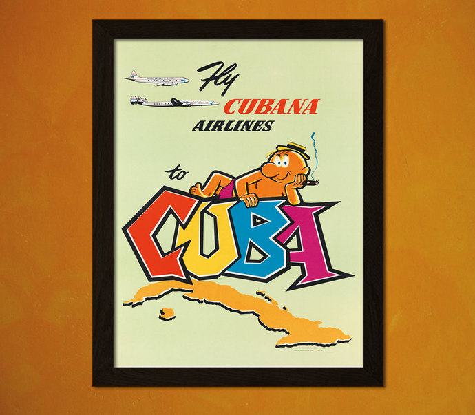 Cuba Travel Poster 50s - Vintage Poster Retro Home Decorating Office decoration