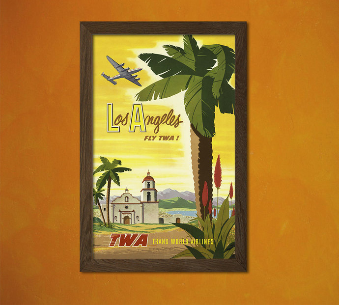 TWA Los Angeles 1950 - Vintage Tourism by VintageWallGraphics on