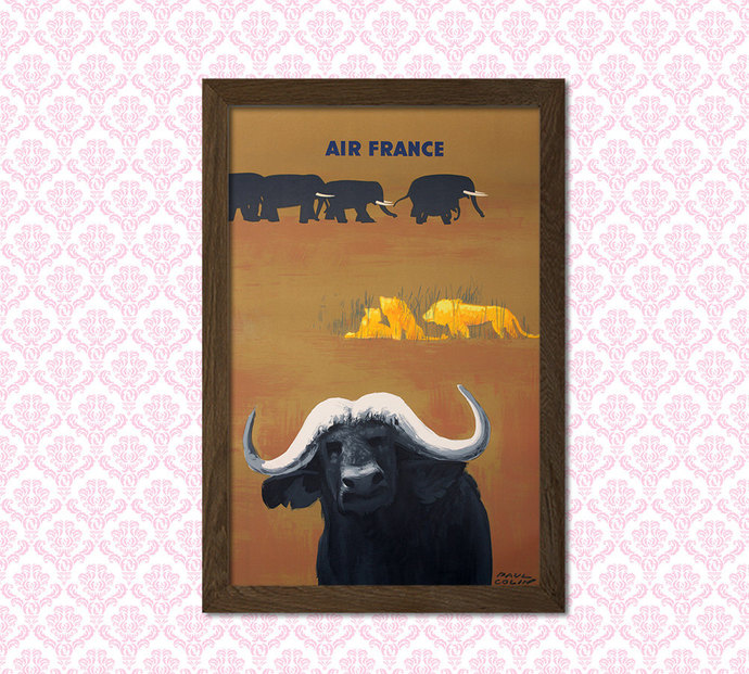 Air France Travel Print - Air France Poster Vintage Travel Poster Birthday Gift