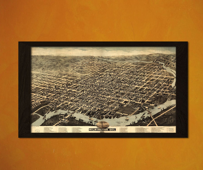 Old Wilmington Map 1874 - Antique Map Retro Poster Old Prints Home Decorating