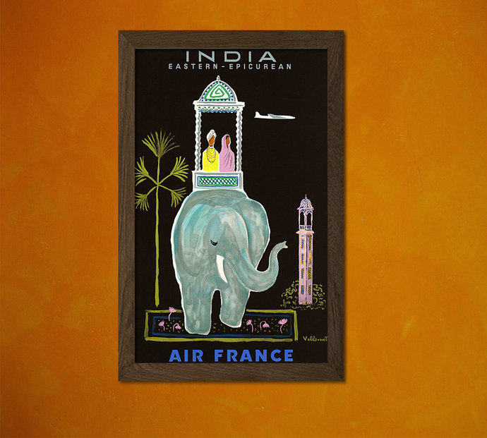 Air France India Print 1956 - Vintage Travel Poster Travel Art Reproduction