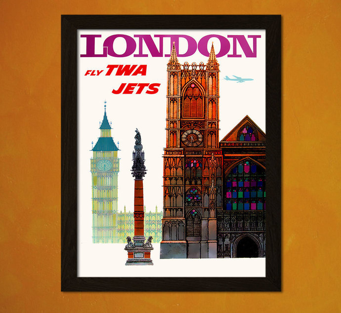 London Travel Print 1960s - London Poster Vintage Travel Poster London Print